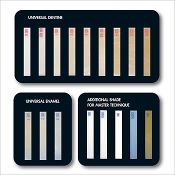 ENA HRi 15 shade guide (Enamel, Dentin, Modifier)